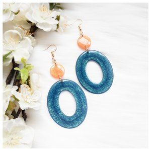 Peach and Teal Large Oval Resin Dangle Earrings